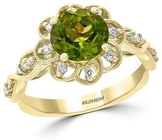 Bloomingdale's Peridot & Diamond Flower Ring in 14K Yellow Gold - 100% Exclusive