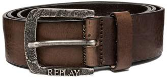 Replay Men's Douglas Men's Leather Black-Brown Belt in Size Brown