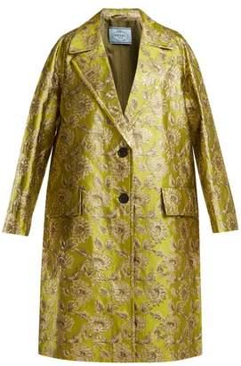 Prada - Notch Lapel Floral Brocade Coat - Womens - Green