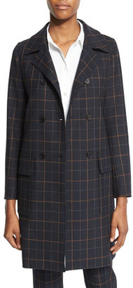 Theory Abla Tile-Check Double-Breasted Coat $351 thestylecure.com