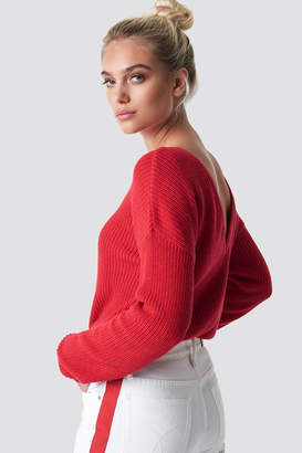 NA-KD Knitted Deep V-neck Sweater