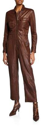 Veronica Beard Artemis Leather Utility Jumpsuit