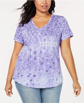 Style&Co. Style & Co Plus Size Cotton Geometric-Print T-Shirt