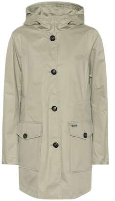 Woolrich Hooded long cotton jacket