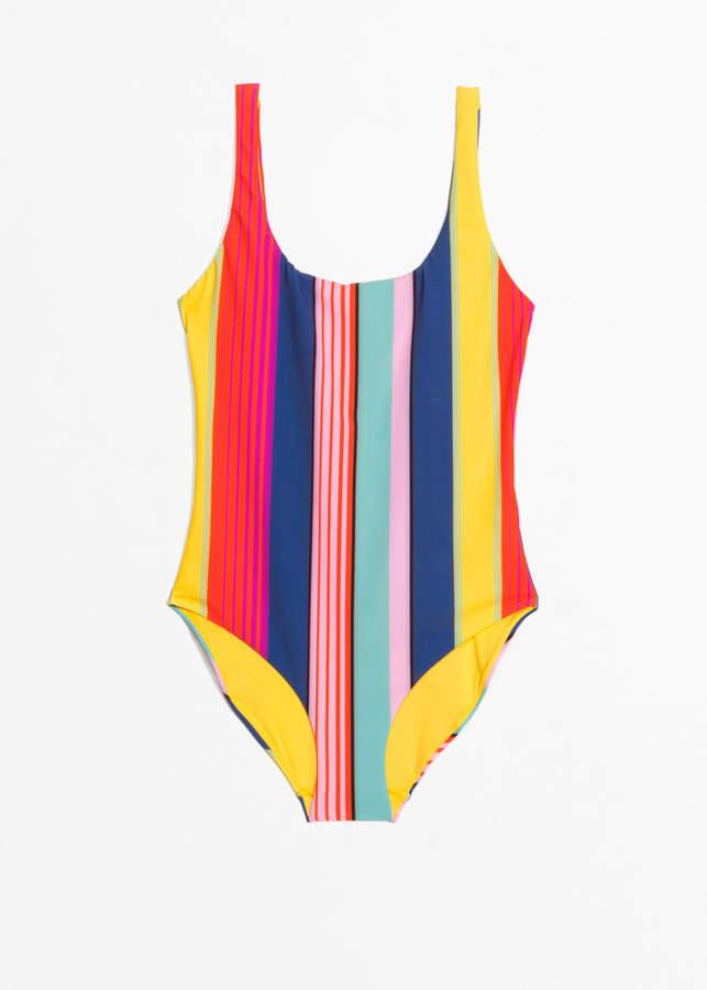 Striped Scoop Back Swimsuit