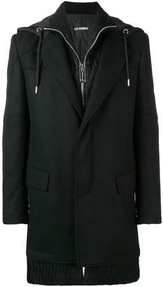 Les Hommes hooded layered coat