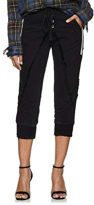 Greg Lauren Women's Grosgrain-Striped Cotton-Blend Lounge Pants