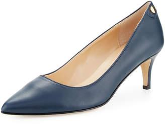 Neiman Marcus Stroll Leather Slip-On Pumps, Blue