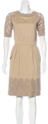 Philosophy di Alberta Ferretti Lace-Accented Knee-Length Dress