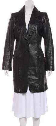 Ann Demeulemeester Leather Knee-Length Coat