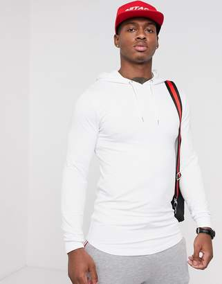 Asos Design DESIGN longline muscle fit hoodie with curved hem in white