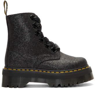 Dr. Martens Black Glitter Molly Platform Boots