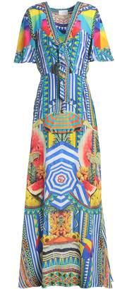 Camilla Book A Shade Cutout Embellished Printed Silk Maxi Dress