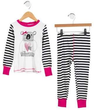 Deux Par Deux Girls' Striped Pajama Set
