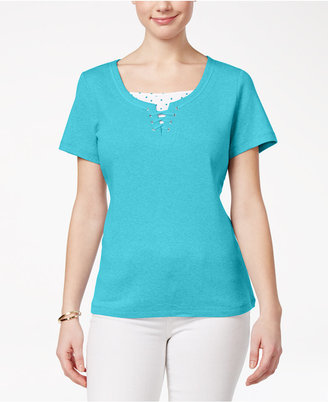 Karen Scott Cotton Lace-Up Layered-Look Top, Created for Macy's $32.50 thestylecure.com
