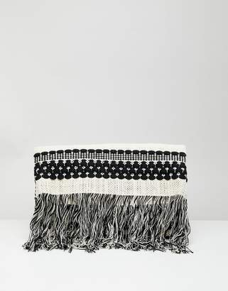 French Connection Knitted Tassel Clutch Bag