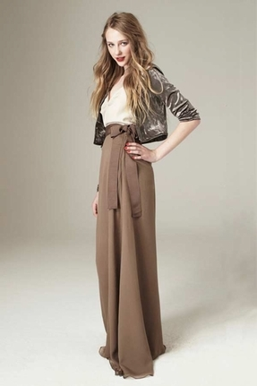 Paper Crown Twain Maxi Skirt in Pewter