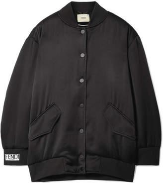 Fendi Faux-pearl Embellished Embroidered Satin-crepe Bomber Jacket - Black