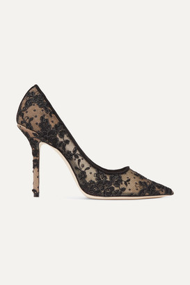 Jimmy Choo Love 100 Swiss-dot Tulle And Corded Lace Pumps - Black
