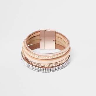 River Island Pink metallic layered magnetic bracelet
