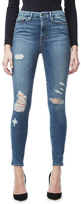 Good American Good Waist frayed skinny ultra high-rise jeans