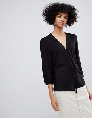 Weekday tie front blouse in black