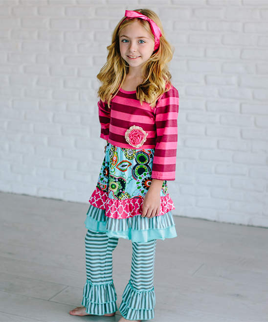 Hot Pink & Teal Dress & Stripe Ruffle Leggings - Girls