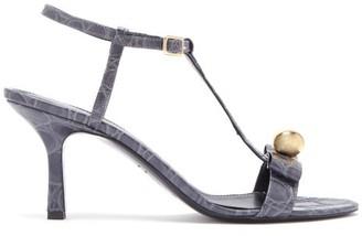 Erdem Kamira Crocodile Embossed Leather T Bar Sandals - Womens - Grey