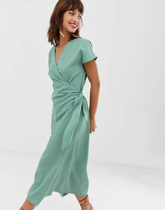 And other stories & wrap front dress in sage green