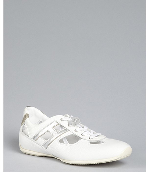 Hogan white pebbled leather 'Sprint' sneakers