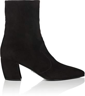 Prada Women's Curved-Heel Suede Ankle Boots