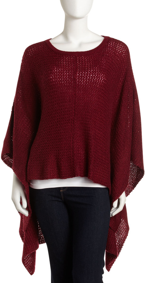 Design History Fluffy Wrap Sweater, Cabernet