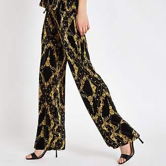 River Island Black chain print plisse wide leg trousers