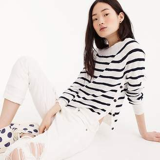 J.Crew Striped crewneck sweater with side buttons