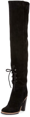 Proenza Schouler Suede Lace-Front 100mm Tall Boot, Black