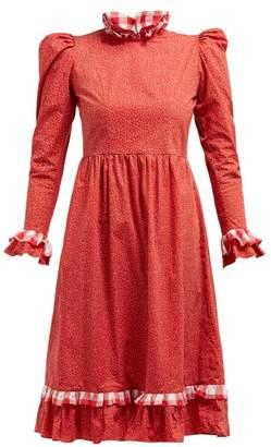 Batsheva Ruffle Floral Printed Cotton Prairie Midi Dress - Womens - Red