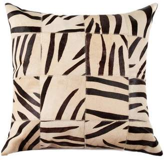 """LUXE FAUX FUR Torino Multipatch Cowhide Pillow, 18"""" x 18"""""""