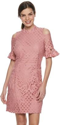 Sharagano Women's Cold-Shoulder Lace Dress