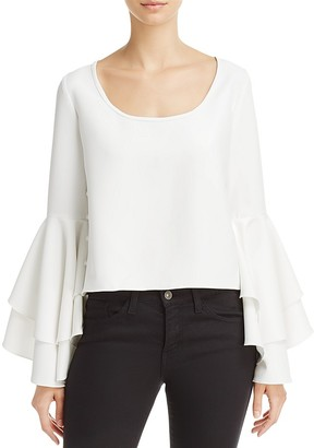 MILLY Annie Ruffle Sleeve Top $320 thestylecure.com