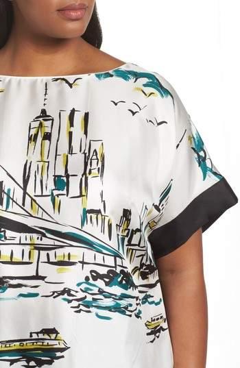 Lafayette 148 New York Karleya Short Sleeve Blouse
