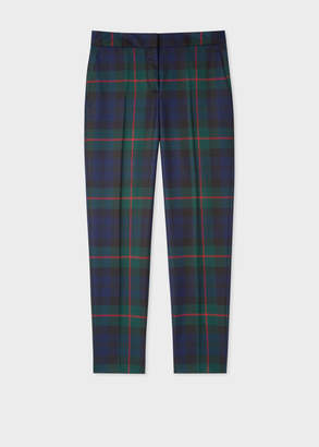 Paul Smith Women's Classic-Fit Navy, Green And Red Tartan Wool Pants