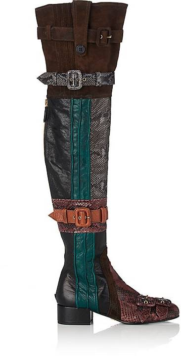 Prada Women's Patchwork Over-The-Knee Boots