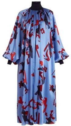 Roksanda Cressida Graphic Print Silk Dress - Womens - Blue Multi