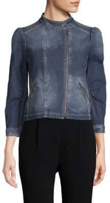 Rebecca Taylor Denim Quarter-Sleeve Moto Jacket