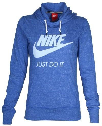 Nike Women's Gym Vintage Pullover Hoodie-Heather Blue-XL