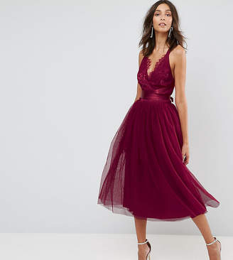 Asos Tall TALL PREMIUM Lace Top Tulle Midi Prom Dress with Ribbon Ties