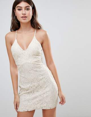 Rare London strappy lace mini dress