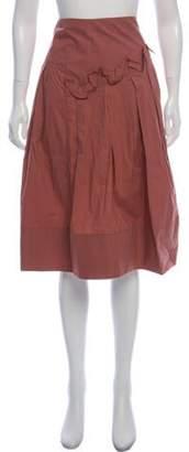 Marni Ruffle-Trimmed Knee-Length Skirt w/ Tags mauve Ruffle-Trimmed Knee-Length Skirt w/ Tags
