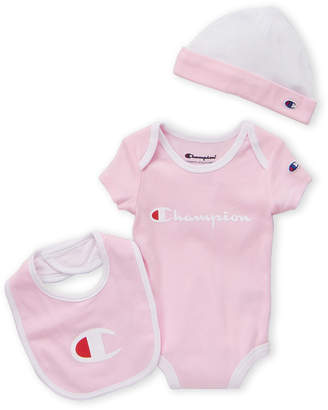 46432b2f5f Champion Infant Girls) 3-Piece Pink Tipped Bodysuit & Hat Set
