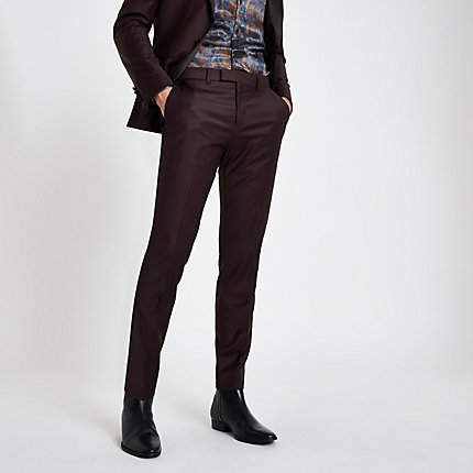 River Island RI 30 burgundy skinny fit suit trousers
